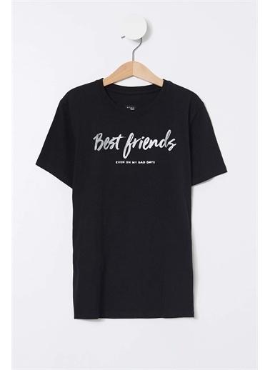 DeFacto Erkek Çocuk Best Friends Yazılı Kısa Kollu Tişört Siyah